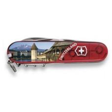 Нож Victorinox Climber 1.3703.TE1 полупрозрачный красный с изображением Люцерна