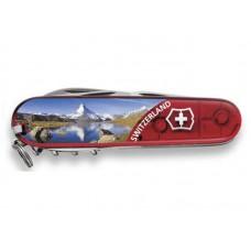 Нож Victorinox Climber 1.3703.TE2 полупрозрачный красный с изображением горы Маттерхорн