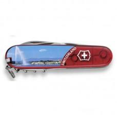 Нож Victorinox Climber 1.3703.TE4 полупрозрачный красный с изображением Женевы