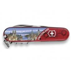 Нож Victorinox Climber 1.3703.TE5 полупрозрачный красный с изображением Цюриха