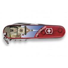 Нож Victorinox Climber 1.3703.TE6 полупрозрачный красный с изображением Берна