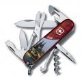 Нож Victorinox Climber 1.3703.TE10 полупрозрачный красный с  изображением Кельна.