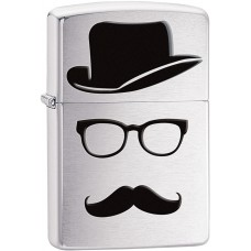 Зажигалка Zippo 200 Top Hat Glasses And Mustache 28648