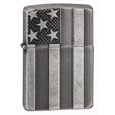 Зажигалка Zippo U.S. Flag Armor Antq Slvr Plate 28974