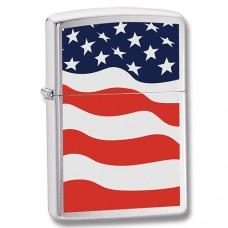 Зажигалка Zippo 200 American Flag Brushed Chrome 24375